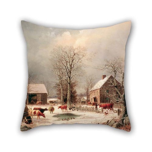 20 X 20 Inches / 50 By 50 Cm Oil Painting George Henry Durrie - Farmyard In Winter Cushion Cases Twice Sides Is Fit For Teens Boys Kitchen Home Office Saloon Pub Wife Damask Olive Futon Cover