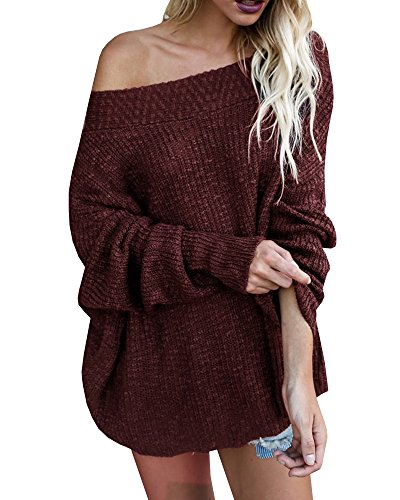 0851868f861 Gobought Women s Off Shoulder Long Sleeve Loose Fit Knit Sweater Tops  Pullover Blouse - Buy Online in Oman.