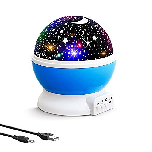 Baby Night Light Star Projector 360 Degree Rotation with 4 LED Bulbs and 9 Light Color, Changing with USB Cable,Unique Gifts for Women Kids Best Baby Gifts Ever, Christmas Gift Ann Bully. (Blue)