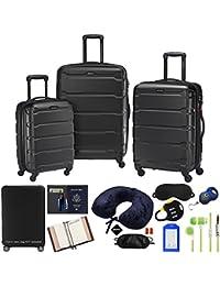 68311-1041 Omni Hardside Luggage Nested Spinner Set 20 Inch, 24 Inch, 28 Inch - Black Bundle w/Deco Gear Luggage Accessory Kit (10 Item)