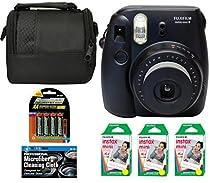 Fujifilm Instax Mini 8 Instant Film Camera (Black) + 6 Pack Fuji Instax Mini Film (60 Prints) + 4 AA Rechargeable Batteries + Bag + Microfiber Cleaning Cloth