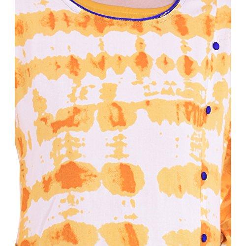 Chichi Indian Women Kurta Kurti 3/4 Sleeve Large Size Floral Printed Round Anarkali Orange-White Top by CHI (Image #4)