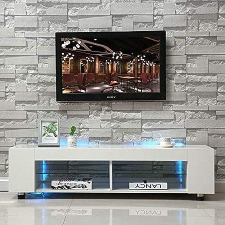 lyrlody Mesa de TV para Salón con Luces LED, Mueble de TV Moderno de Alto Brillo, Gabinete de TV LED, Mesa de Televisión Blanco: Amazon.es: Hogar