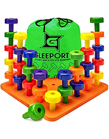8ec316c0b07a Gleeporte Stacking Peg Board Set Toy - Montessori Occupational Therapy  Early Learning for Fine Motor Skills