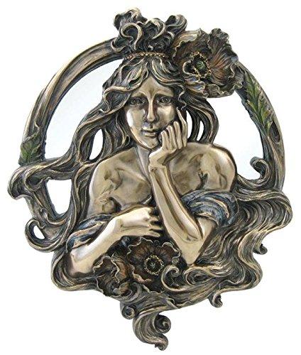 TLT 9.5 Inch Cold Cast Bronze Finish Art Nouveau Poppy Lady Mirror (Poppy Nouveau Art)