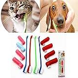 Botrong Random Color 1 Set Plastic Pet Cat Dog Tooth Finger Brush Dental Care for Pet Toothbrush Toothbrushes