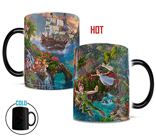 Morphing Mugs Thomas Kinkade Disney's Peter Pan's Neverland Painting Heat Reveal Ceramic Coffee Mug - 11 Ounces