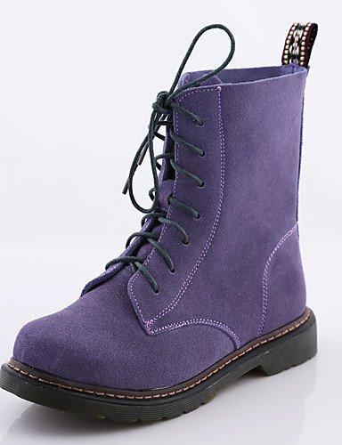 Xzz Purple Exterior negro Cerrada Amarillo us8 De 5 Tacón Cn39 Zapatos Plano Purple 5 Cn40 Ante Casual Punta Uk6 Botas Uk6 us8 Redonda Mujer Anfibias Eu39 qCqrZ