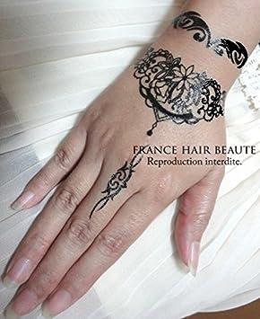 Tatuaje Temporal Estilo Henne negro (promoción: si 2 hojas ...