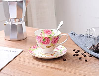 Jusalpha Fine China Tea Cup and Saucer Set- Coffee Cup Set with Saucer and Spoon,TCS14 (4)