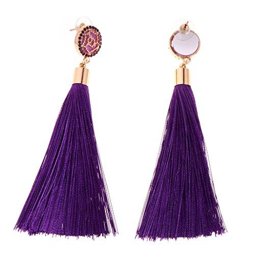 Purple Fashion Accessories (JAGENIE Women Flower Tassel Earrings Long Style Multi Color Fashion Jewelry Accessories,Purple)