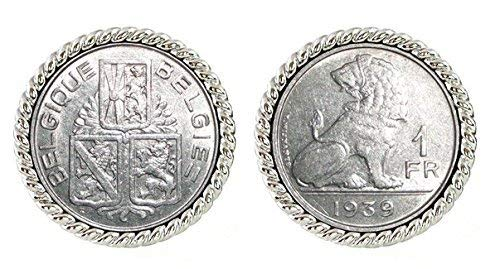 Coin Cuff Links Belgium Lion Coin