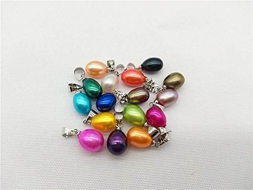10pcs 9-11mm Height Colored Rainbow Drop Pearl Pendant,Pearl Jewellery Findings,Pearl Pendant (9mm Drop Pearl Pendant)