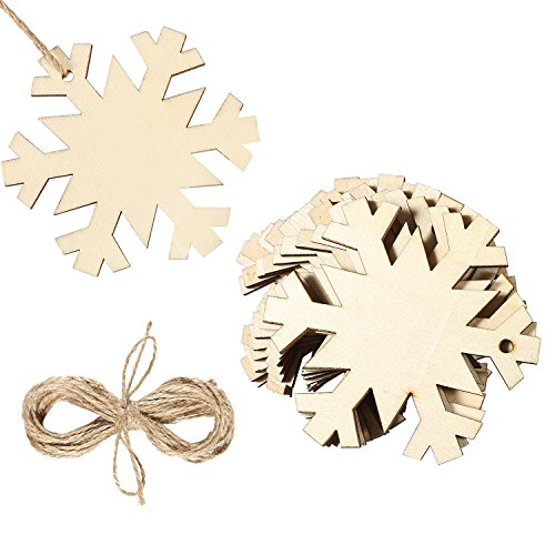 Aneco 20 Pieces Wooden Snowflake Christmas Tree Ornaments Hanging with 20 Pieces Crafts Twines