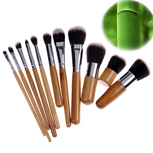 11pcs/set Bamboo make up brush tool kit - 8