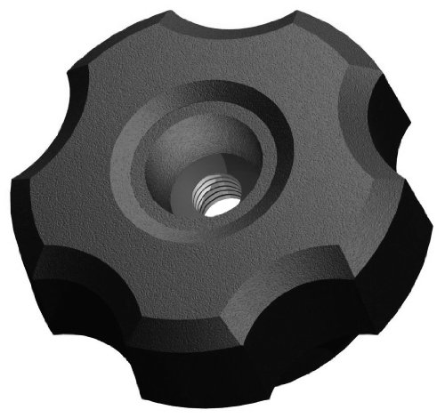 Innovative Components AN5C-F221 1.38'' Fluted knob thru hole 5/16-18 steel zinc insert black pp (Pack of 10) by Innovative Components