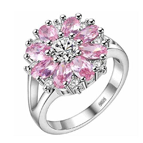 - Uloveido Girls Pink Lotus Flower Shape Fashion Women Rings for Wedding J676 Size9