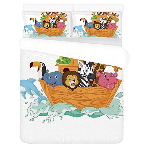 Religious Comfortable 3 Piece Bedding Set,Fun Animals in The Ark Floating Myth Creatures Grace Nature Illustration Art Decorative for Home,Duvet Cover:86