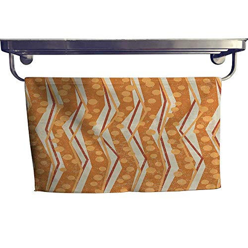 Burnt Orange Fashion Towel Combination Chevron Zigzags Pattern with Stripe and Dots Geometrical Cotton Hand Towels Set W 12