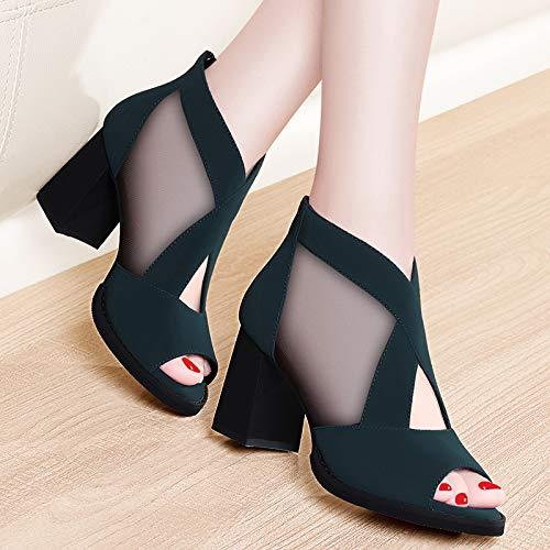 Hauts Épais Noir Femmes Été Shukun Romaines Sandales Blue Type Bouche Chaussures Poisson Avec Mesh De La Talons Personnalité ngqBa8w