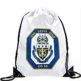ExpressItBest Large Drawstring Bag with US Navy USS Leyte Gulf (CG 55), cruiser emblem (crest) - Long lasting vibrant image