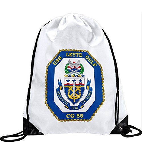 ExpressItBest Large Drawstring Bag with US Navy USS Leyte Gulf (CG 55), cruiser emblem (crest) - Long lasting vibrant image by ExpressItBest