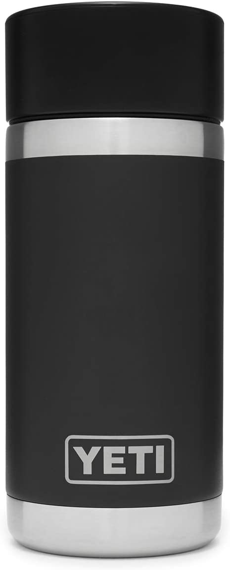 Amazon Com Yeti Rambler 12 Oz Bottle Stainless Steel Vacuum Insulated With Hot Shot Cap Black Sports Outdoors