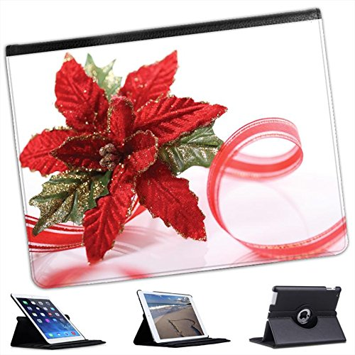 Red & Green Glittered Christmas Decoration For Apple iPad 2, 3 & 4 Faux Leather Folio Presenter Case Cover Bag with Stand Capability