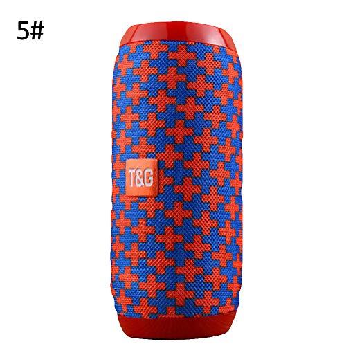 yunbox299_Speaker Loudspeaker Horn, TG117 Waterproof Fabric Wireless Bluetooth Music Phone Call Speaker Sound Box - Cross Red