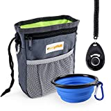 FURRYFIDO Dog Treat Training Pouch with Poop Bags Dispenser, Collapsible Food Water Bowl, Training Clicker, Extra Long Waist Belt and Over Shoulder Strap, Carries Treats, Toys, Keys etc. (Grey)