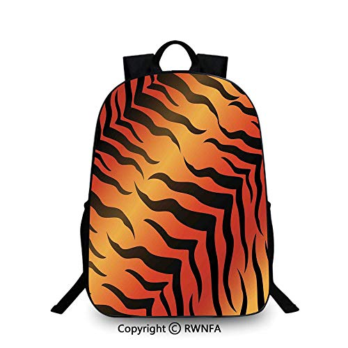 Travel waterproof schoolbag,Abstract Tiger Skin Pattern Wildlife Nature Themed Fashionable Illustration Backpack Cool Children Bookbag, Red yellow Black (Tigers Black Chrome Pen)