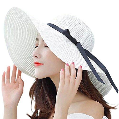 - Lanzom Women Summer Big Brim Beach Hat Floppy Foldable Bowknot Straw Sun Hat (Cream)