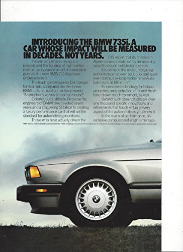 MAGAZINE AD For 1987 Silver BMW 735i Car: Impact Measured in Decades ()