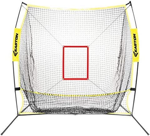 EASTON XLP Baseball Softball Pitching and Batting Catch Net, Heavy Duty Netting And Double Stich For Durability, Extra Large Catch Pocket, Strike Zone, Lightweight Durable Frame, Easy Set-Up