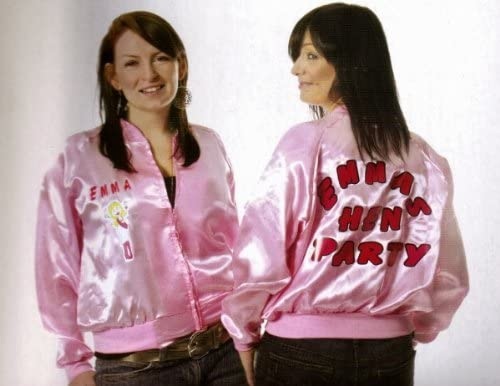 PERSONALISED PINK LADY HEN NIGHT JACKET SIZE 8-12 (disfraz ...