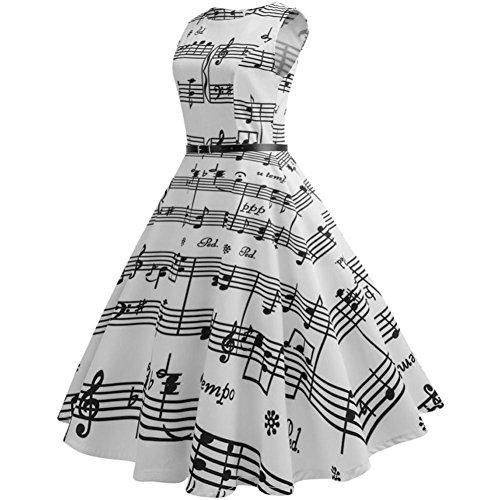 KEERADS Damen Vintage 1950er Einfarbig Cocktailkleid Rockabilly Kleid Basic Festliche  Partykleid knielang Abendkleid Weiß 4U953govxR ... da3941bffb