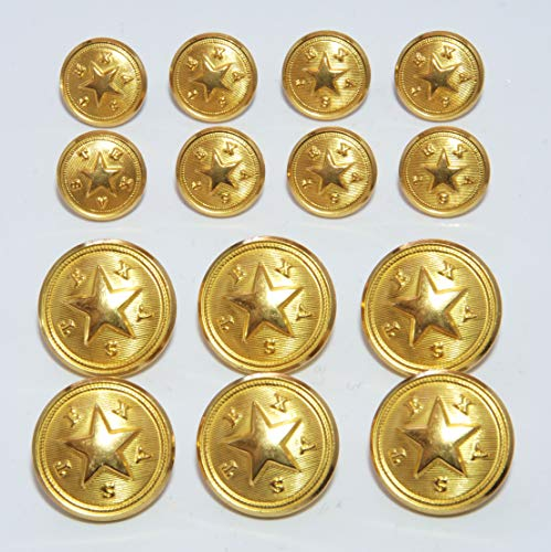 Texas Star State Seal Double Blazer Gold Button Set from Waterbury Button Company Sport Coat Buttons