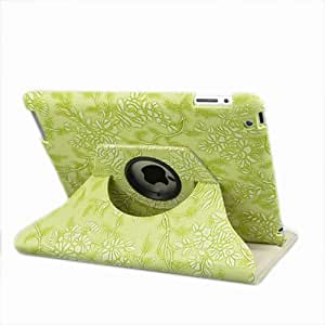 Dragonpad@ 360 Degrees Rotating Stand (Green) Stylish Embossed Flowers Case for Ipad 3 / the New Ipad (3rd Generation) /Ipad 2 with Bonus Stylus, Supports Smart Cover Wake/sleep Function