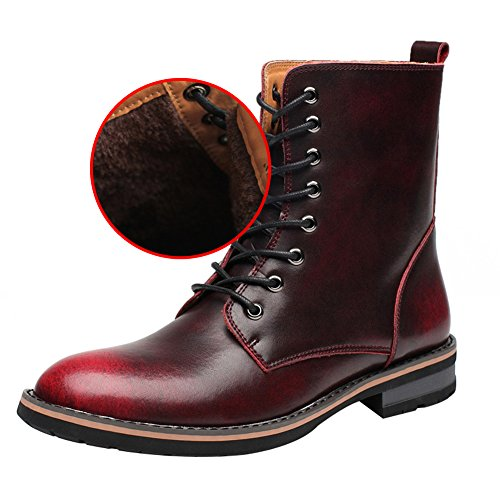 rismart Mens Stylish Pointed-Toe Low Chunky Heel Lace Up Chukka Boots Warm Lining Winter Ankle Boots Burgundy Plush SN17800 US8.5 EA5kr61