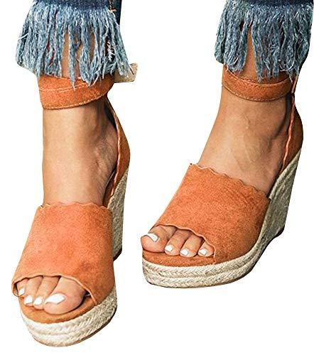 Coutgo Womens Wedge Espadrille Platform Open Toe High Heel Ankle Strap Buckle Ruffle Sandals Brown ()