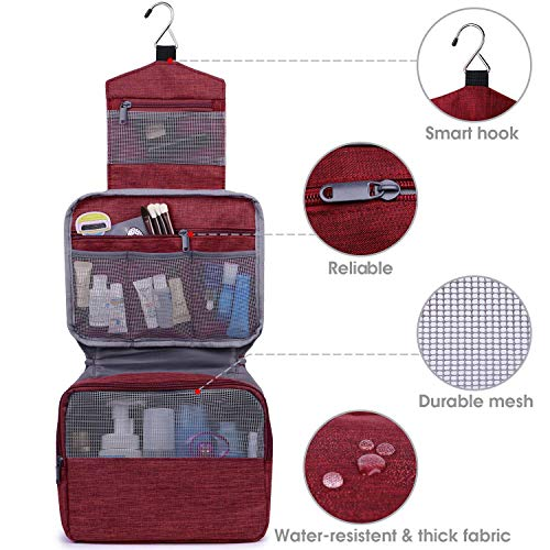 Hanging Travel Toiletry Bag Cosmetic Make up Organizer for Women and Girls Waterproof (D-Red)