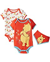 Disney Baby-Girls Winnie The Pooh Bodysuits and Bib (Pack of 3)
