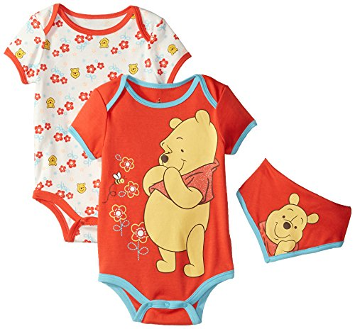 Disney Baby-Girls Winnie The Pooh Bodysuits and Bib, Orange, 24 Months (Pack of 3) - Pooh Suit