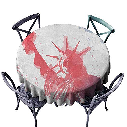 G Idle Sky 4th of July Fabric Dust-Proof Table Cover Watercolor Lady Liberty Silhouette with Paint Splashes Independence Easy Care D59 Dark Coral Pale Blue