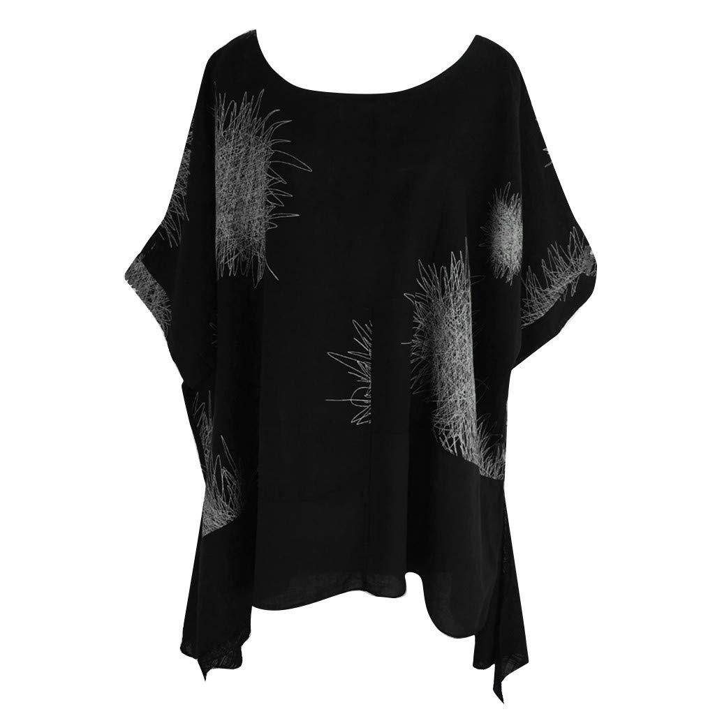 Women's Shirts Plus Size Dainzuy Short Sleeve Printing Cotton Linen O-Neck T-Shirt Tunic Tops Lightweight Long Blouses Black by Dainzuy Women Tops