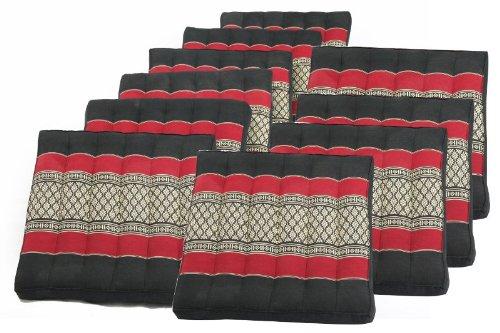 10 Original Handelsturm Seat&floor Cushions, Burgundy&black, 100% Kapok Filling! by Handelsturm
