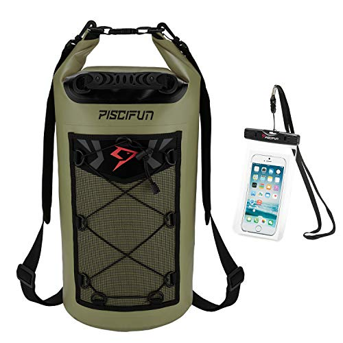 Piscifun Waterproof Dry Bag Backpack Floating Dry Backpack for Water Sports - Fishing Boating Kayaking Surfing Rafting Camping Gifts for Men and Women Free Waterproof Phone Case Army Green 10L