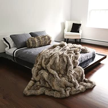 Best Home Fashion Faux Fur Throw - Full Blanket - Kitt Fox - 58 W x 84 L - (1 Throw)