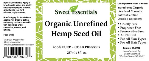 Organic-Extra-Unrefined-Hemp-Seed-Oil-Food-Grade-8oz-Imported-From-Canada-100-Pure-Cold-Pressed-Offers-Relief-From-Dry-Cracked-Skin-Eczema-Baby-Eczema-Psoriasis-Dermatitis-Rosacea