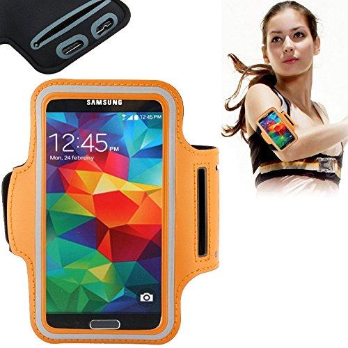 Mxnet Funda de brazalete de deporte de la PU con el agujero del auricular y el bolsillo dominante para la galaxia S7 / S6 y S6 borde / S5 / S4 / S3 de Samsung Fundas ( Color : White ) Orange